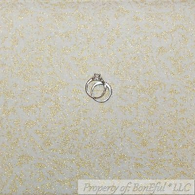 BonEful Fabric FQ Cotton Quilt White Gold Glitter Metallic Sparkle Princess Girl