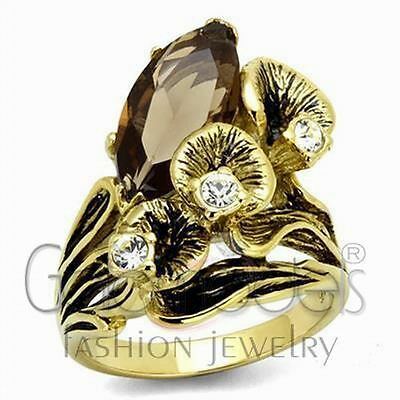 A2669 Brown Simulated Gem 316L Stainless Steel 14K Gold Plated Ring