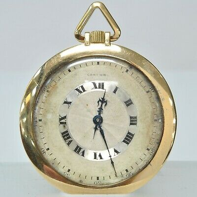 Cartier 18K European Watch Co Inc Signed France Pocket Watch 19 Jewel 8 Adj.