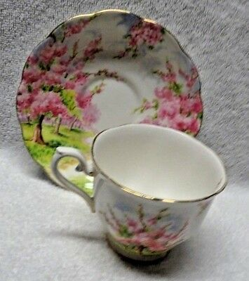 Royal Albert Blossom Time Pink And Green   Cup and Saucer