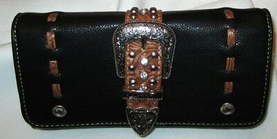 Western Wallet / Checkbook Tri-Fold Buckle/Studded/Stitched Black New BA2011A