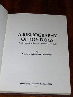 Rare A Bibliography Of Toy Dogs Dog Book 1St 1994 By Hutchings Ltd Ed Pug Peke 1