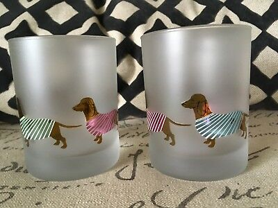 NEW Set of 2 Dachshund Double Old Fashioned Frosted Glasses Drinking Doxie Dog