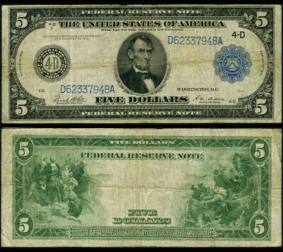 FR. 859 B $5 1914 Federal Reserve Note Cleveland Type B Fine+