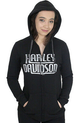 Harley-Davidson Womens Watercolor Script Full Zip Black Hoodie Jacket