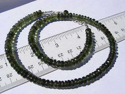 140 carats of checkered cut beads 6.5mm x 2.5mm MOLDAVITE necklace 18 inches