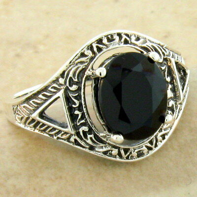3 Ct Genuine Black Agate Victorian 925 Silver Antique Style Ring Size 10,  #1102