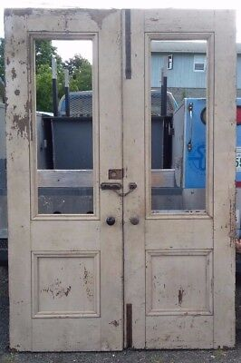 "Two 30 1/4"" x 89 3/8""  Vintage Exterior French Double Entry Door Window"