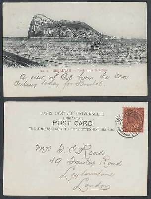 Gibraltar KE7 1d 1908 Old UB Postcard The Rock from San S. Felipe Boats Panorama