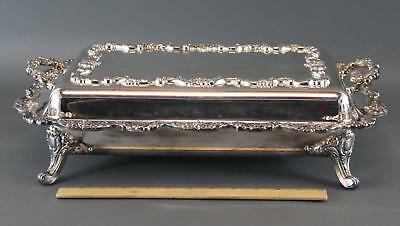 Large, High Quality, Covered Silverplate Serving Dish Tray w/ Divider NR