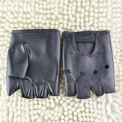 Men Punk Fashion Fuax Leather Gloves Half Finger Fingerless Biker Sports Cycling