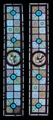 Stunning Victorian Pair English Painted Birds Stained Glass Sidelights Windows