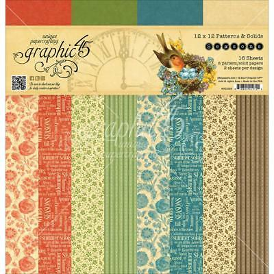 """Graphic 45 SEASONS 12x12"""" Paper Pad  Patterns & Solids"""