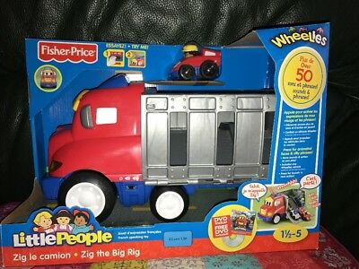LITTLE PEOPLE Fisher PRICE Zig Le Camion Interactif 50 Sons Et Phrases +DVD Neuf