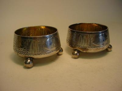 Pair of Antique Silver Plated Salts with Heraldic Engraving