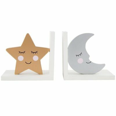 Sass & Belle Sweet Dreams Star & Moon Bookends Kids Silver Gold Bedroom Decor