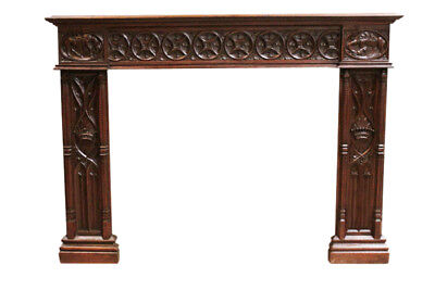 Antique French Gothic Fireplace Mantel, 19th Century, Oak