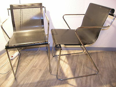 lot X 2 chaise MONOPOLI design Pietro Arosio AIRON made in Italy métal perforé