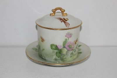Antique Vienna Austria Hand Painted Honey/jam/condiment Jar-Artist Signed