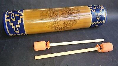 New Mexican Bamboo Teponaztli Drum Native Ethnic Percussion Instrument Art Craft