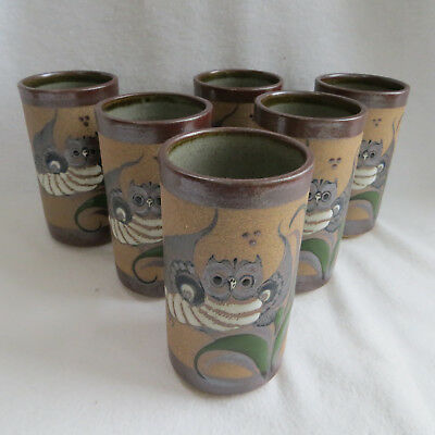 6 Owls Mexican Folk Art Pottery Glasses Tumblers Set Tacat Mexico Signed New