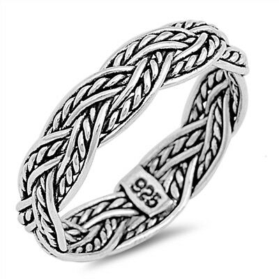 Oxidized Celtic Weave Mesh Rope Wedding Ring 925 Sterling Silver Band Sizes 7-13