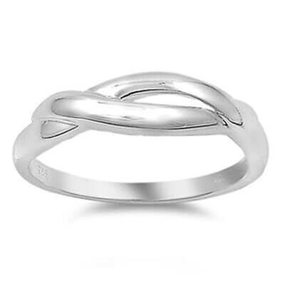 Criss Cross Infinity Love Knot Ring New .925 Sterling Silver Band Sizes 5-9