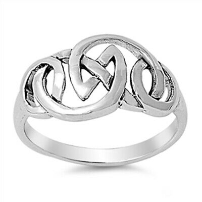 Oxidized Celtic Knot Criss Cross Ring New .925 Sterling Silver Band Sizes 4-11