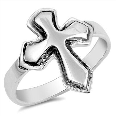 Petite Small Thin Sideways Cross Purity Ring 925 Sterling Silver Band Sizes 3-10