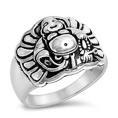 Sterling Silver 925 PRETTY BUDDHA DESIGN LUCKY CHARM SILVER RINGS 15MM SIZE 5-13