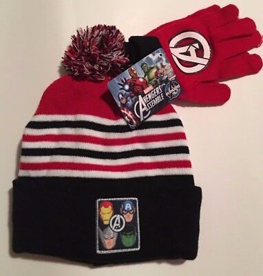 MARVEL AVENGERS Knit Beanie Hat & Gloves IRONMAN THOR CAPTAIN AMERICA HULK