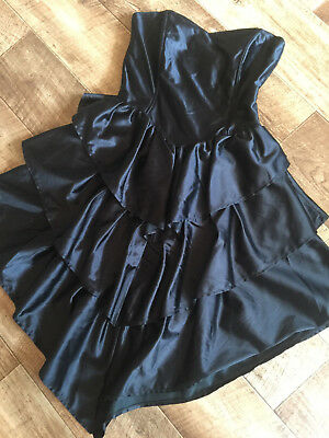 PUNK CHIC!! VINTAGE 80's TRIPLE RUFFLE STRING PARTY DRESS 14