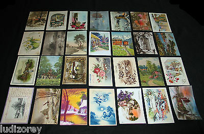 Lot A69 : 28 Cpa Fantaisie Dessin Illustration Paysage Fantasy Campagne Hiver