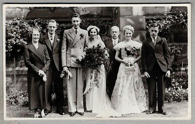 Vintage Wedding Postcard - Bride and Groom with others, bouquet, buttonhole
