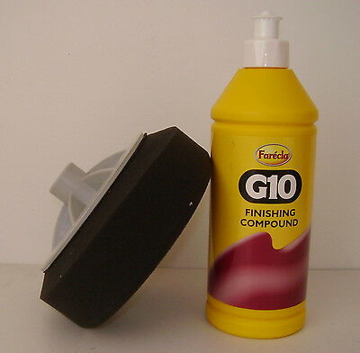 Farecla G10 Rubbing Compound 500ml Car Finishing Liquid + Black Polishing Foam