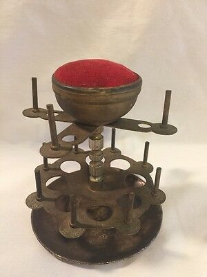 Antique VINTAGE Metal 12 Pin Cushion Thread Reel Bobbin Spool Holder Victorian