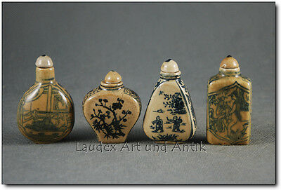 4 SNUFF BOTTLES, China, Porzellan, Handarbeit, 20. Jhd. [C25737]