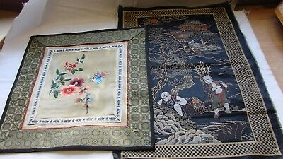 2 Vintage Chinese silk picture panels, embroidered & woven brocade