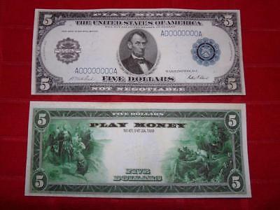 1914 $5.00 Federal Reserve One Sided Orginal Size Prop Note Read Description!