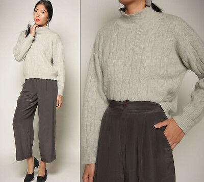 vtg 80s softest CASHMERE heather gray CABLE KNIT mock neck Esprit sweater top