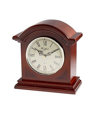 Mahogany Veneered Arch Top Quarz Mantel Clock with Westminster Chimes