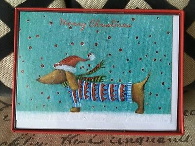 NEW Box Of 15 Dachshund  Merry Christmas Cards Doxie Embellished Glitter Sweater