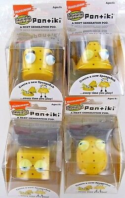 4 SpongeBob PONTIKI Portable PODs Pal Toy Figure Geometric Shapes Build NEW NIB