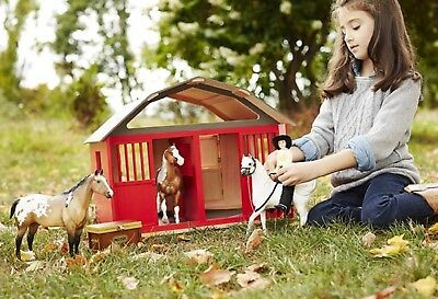 Breyer Horse Lovers Christmas -#307 Wood 2 Horse RED  barn New in box