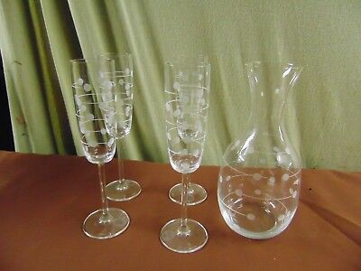 Made In Germany Lenox Set Of Champagne Glasses (4) With Decanter Polka Dot