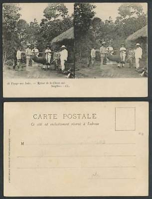 Indes Stereo View Old Postcard Return from Wild Boar Hunt Native Hunters L.L. 16