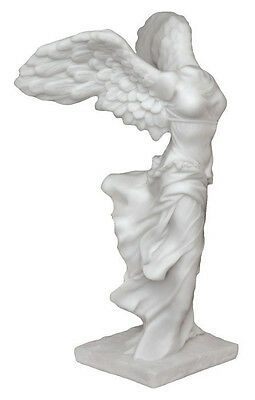 Greek Goddess of Victory Nike with Wings Creamy White Resin Statue #5903