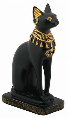 Egyptian Statue Cat Goddess Bast Bastet w/ Necklace Hand finished Resin #5392