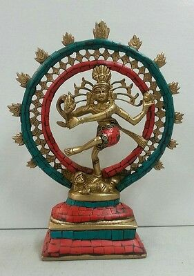 Hindu Lord Shiva Nataraja Dancing God Antique Brass Statue w/ Stone Inlay #BW669