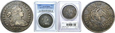 1797 Bust Dollar PCGS XF-45 9x7 Stars, Large Letters